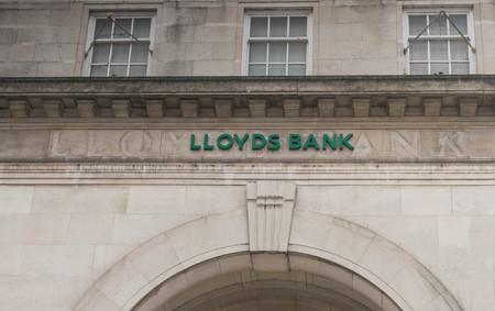 COVENTRY, ENGLAND, UK - 3rd March 2018: Lloyds Bank logo sign in Coventry city centre.