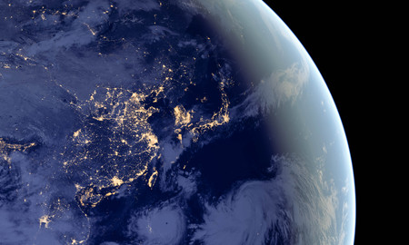 China and Japan lights during night as it looks like from space. Elements of this image are furnished by NASA