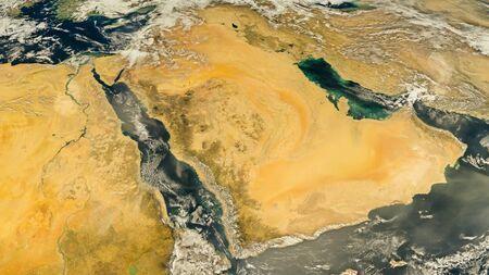 Saudi Arabia satellite map, refurbished NASA images