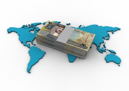 bahrain money: Globe and Bahrain Money Stock Photo