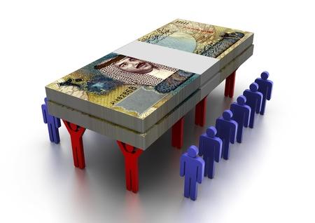 3D People Carring Geld Bahrain Standard-Bild
