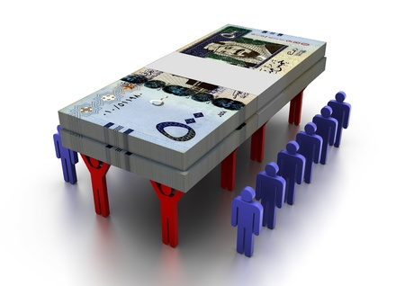 saudi: 3D People Carring Money Saudi Arabia