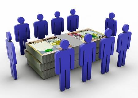 3D Menschen sammeln um Money Money Meeting Oman