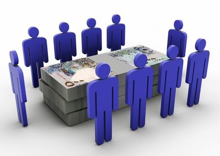 3D Menschen sammeln um Money Money Meeting Qatar Standard-Bild