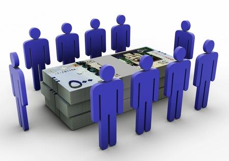 3D Menschen sammeln sich um Money Money Meeting Saudi-Arabien