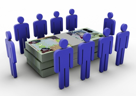 3D Menschen sammeln um Money Money Meeting UAE