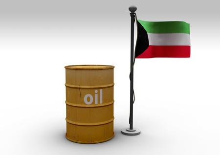 gcc: Oil Barrel and Flag Kuwait Stock Photo