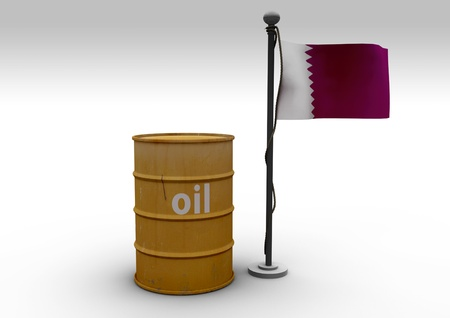 Oil Barrel and Flag Qatar photo