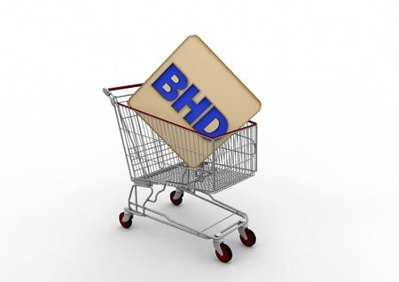 dinar: Internet shopping cart Bahrain Dinar Stock Photo