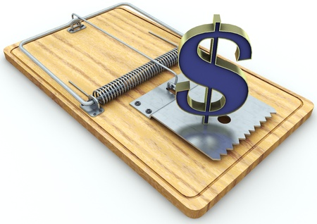 currency on a mousetrap  Stock Photo - 17065482