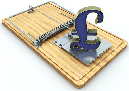 currency on a mousetrap  Stock Photo - 17065470