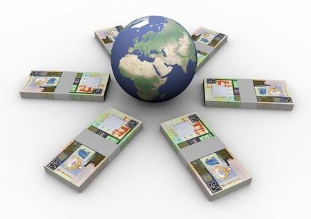arabic currency: Money laying around globe