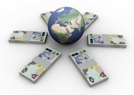 finacial: Money laying around globe