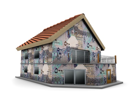 gcc: house of Qatari Riyals in white background