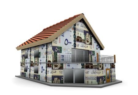 gcc: house of Saudi Riyals in white background Stock Photo