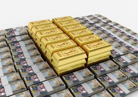 lingote de oro: Barra de oro 3D con la palabra impresa en oro y dinero �rabe Bahrian sobre fondo blanco aislado