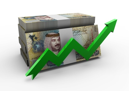 dinar: piles of Bahrain money with green arrow on isolated white background