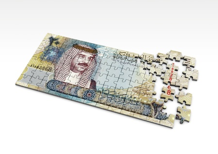 bahrain money: 3D Bahrain money puzzle on isolated white background