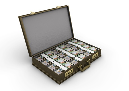 bahrain money: 3D stacks of Kuwait money inside a briefcase isolated on white background