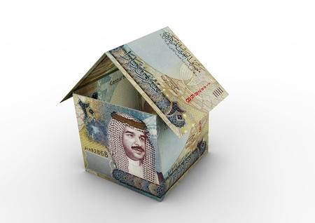 bahrain money: 3D Bahrain money shaped as house origami isolated on white background