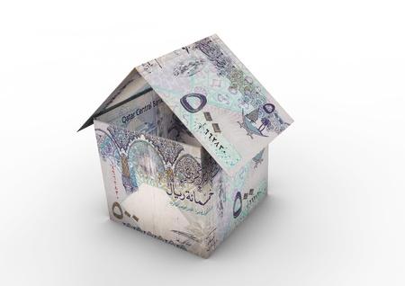 3D Qatar money shaped as house origami isolated on white background photo