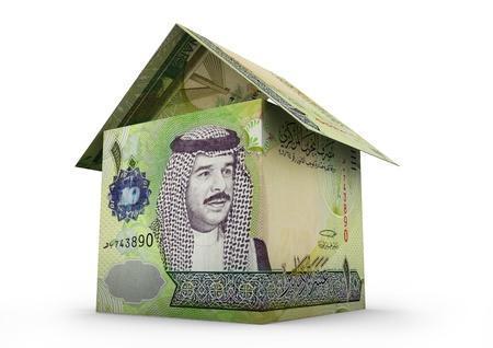 bahrain money: 3D Bahrain  money shaped as house origami isolated on white background Stock Photo