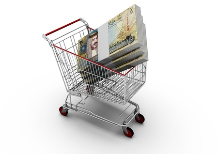 bahrain money: 3D Bahrain  Money on shipping cart
