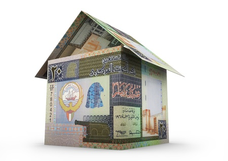 growth in economy: 3D Kuwait money shaped as house origami isolated on white background