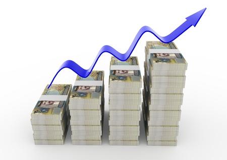 bahrain: 3D Bahrain Money growth Stock Photo