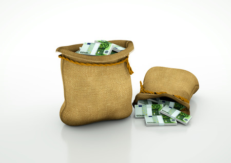 Two Sacks of  Euro money isolated on white background Stock Photo