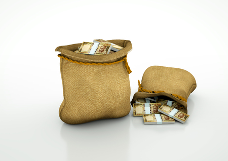 Two Sacks of Indian money isolated on white background
