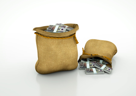 oportunity: Two Sacks of indonesian money isolated on white background Stock Photo