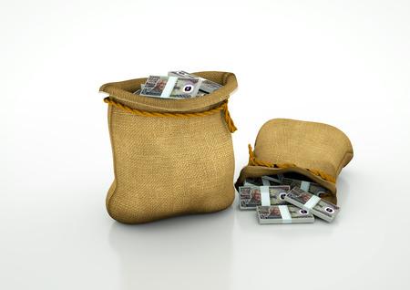 Two Sacks of indonesian money isolated on white background Stock Photo