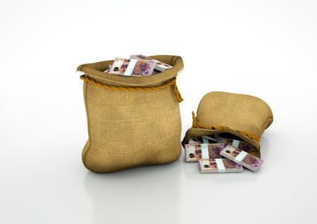 Two Sacks of Argentinian money isolated on white background