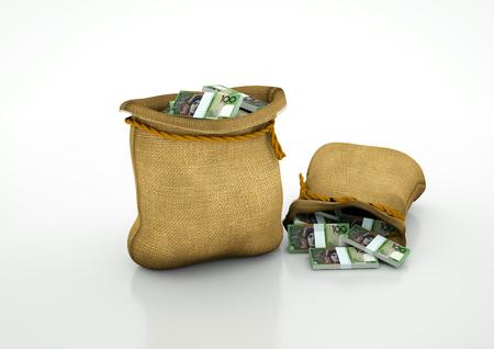 Two Sacks of australian money isolated on white background Stock Photo