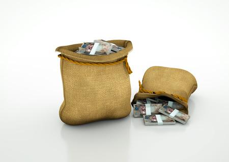Two Sacks of Bahrain money isolated on white background Stock Photo