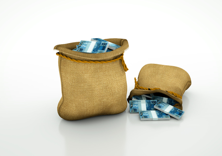 oportunity: Two Sacks of brazilian money isolated on white background Stock Photo