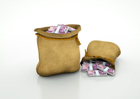 Two Sacks of turkish money isolated on white background