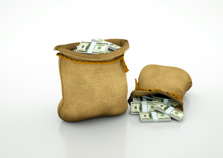 Two Sacks of American money  isolated on white background