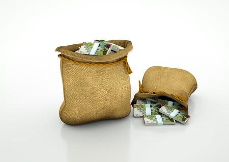 Two Sacks of Israeli money  isolated on white background