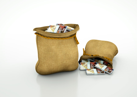oportunity: Two Sacks of Israeli money isolated on white background Stock Photo