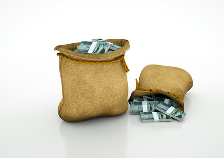 oportunity: Two Sacks of Jordanian money isolated on white background Stock Photo