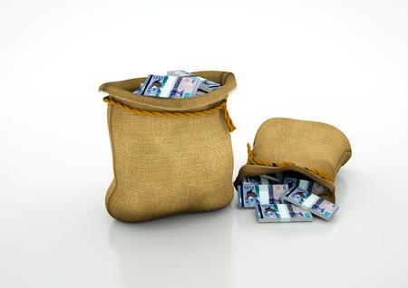 Two Sacks of kazakhistan money isolated on white background