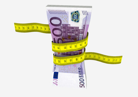 piles of 3D Rendered Euro money with with yellow measure tape isolated on white background