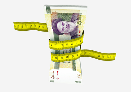 reduce risk: piles of 3D Rendered Iranian money with with yellow measure tape isolated on white background