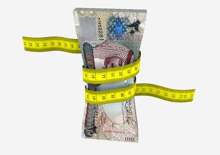 bahrain money: piles of 3D Rendered Bahrain money with with yellow measure tape isolated on white background