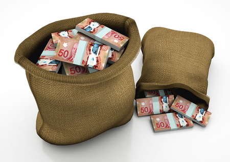 two 3D sacks of Canada money isolated on white background