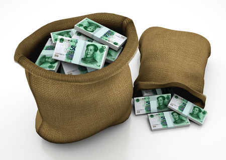 bejing: two 3D sacks of China money isolated on white background Stock Photo