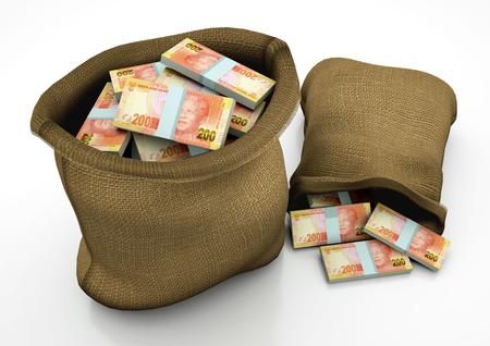 Deux sacs 3D de l'Afrique de l'argent sud isolé sur fond blanc Banque d'images - 69207801