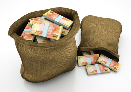 two 3D sacks of south Africa money isolated on white background